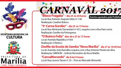 Agenda: Carnaval 2017
