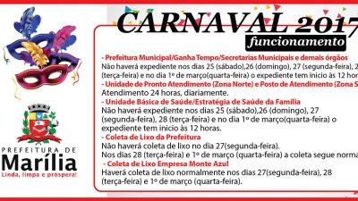 Programação de Serviços Públicos no Carnaval