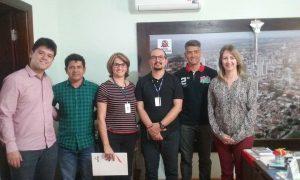 Coordenadores do Senac e gerente regional Andréa Sangaletti em visita à Secretaria Municipal de Assistência e Desenvolvimento Social.