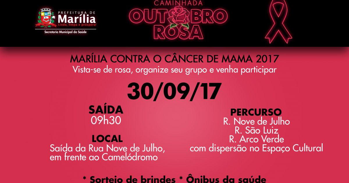 Marília terá 'Caminhada Outubro Rosa' para marcar mobilização contra o câncer de mama