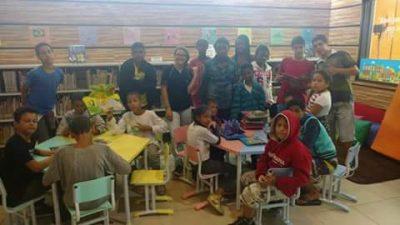 Crianças do Serviço de Convivência e Fortalecimento de Vínculos visitam a nova biblioteca Municipal
