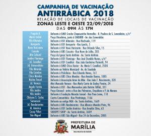 Vacinação Antirrábica 2018 - LESTE-OESTE